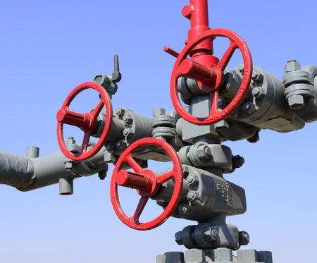 Beautiful close-up of several oil pipeline switch photo