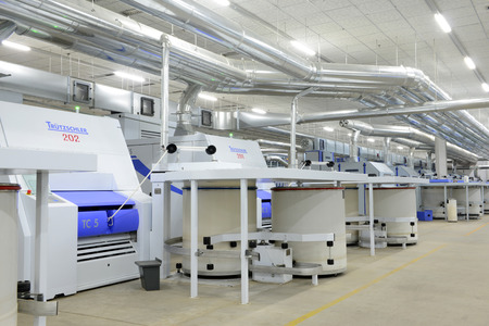 Modern spinning equipment are working in the factory