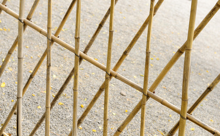 bundling: With a bamboo pole set up portions of the fence Stock Photo