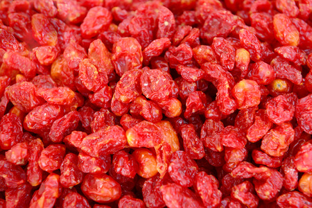 piled: Many red Chinese wolfberry piled up together Stock Photo