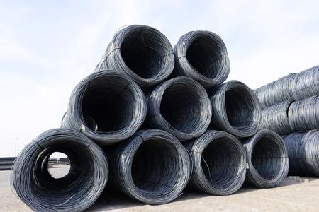 bundling: Many rolled steel pile up together, close-up Stock Photo