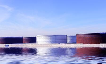 productos quimicos: Una gran cantidad de tanques de almacenamiento en el campo de petr�leo en el norte de China
