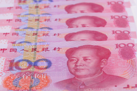 put: A few hundreds of one hundred yuan put together, close-up