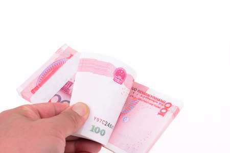 Single hand point is one hundred yuan RMB, close-up