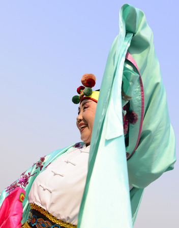 literary: LUANNAN county - March 6: jidong DaYangGe acting square in the center of the literary style, on March 6, 2015, LUANNAN county, hebei province, China.