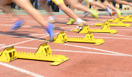 The athletics starting close-up Banque d'images