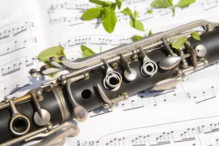 clarinet: Un clarinete en primer plano en una canción Foto de archivo