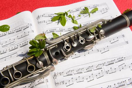 clarinete: Un clarinete en primer plano en una canción Editorial