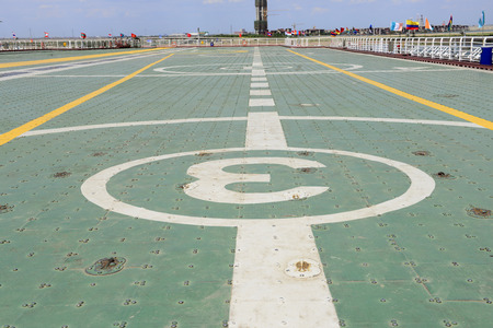 aircraft carrier: The deck of the aircraft carrier