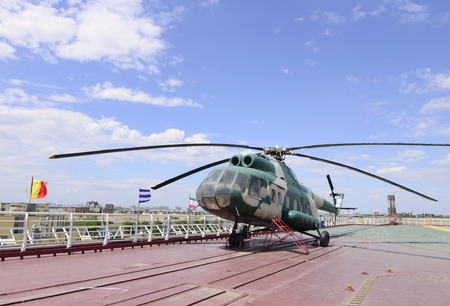 aircraft carrier: The helicopter on  aircraft carrier deck Editorial