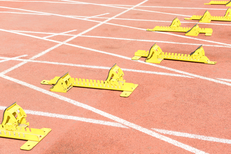 starting blocks: Starting blocks on run race track