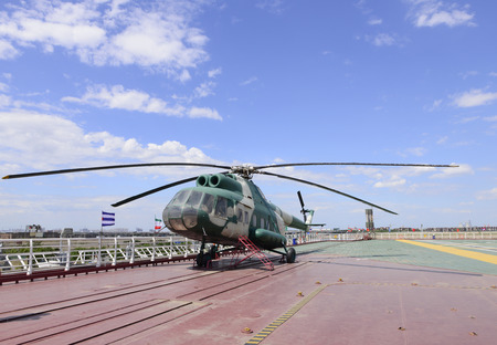aircraft carrier: helicopter on aircraft carrier deck