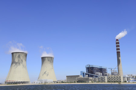 power plants: Modern power plants under the blue sky