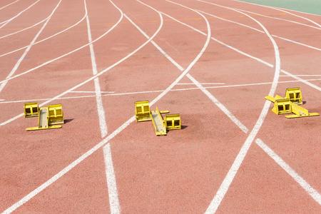starting blocks: The starting blocks on the track