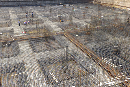 reinforced: The framework of reinforced concrete in the construction site