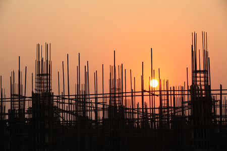 Steel structure buildings under the setting sun  Stock Photo