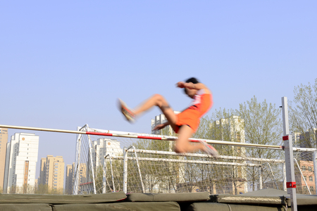 Track and field close-ups of the high jump  Фото со стока