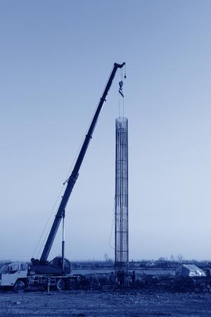 Crane hoist steel bars   版權商用圖片