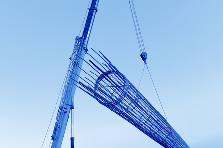 Crane hoist steel bars   Stock Photo