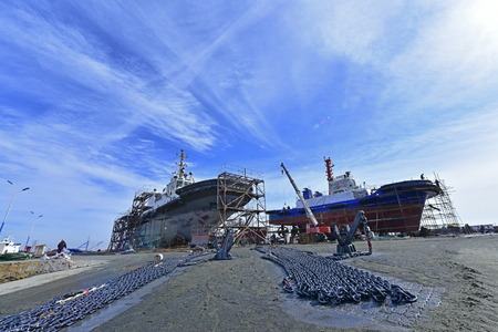 The ship in the shipyard