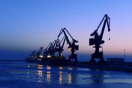 Port gantry crane is working  Stock Photo