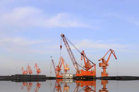 Many of the crane in work, in the cargo terminal