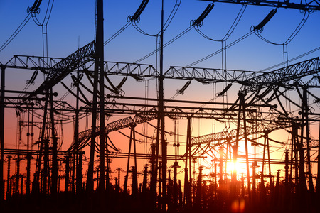 A high voltage substations, in the sunset