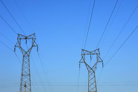 High voltage tower, in the sky background  Reklamní fotografie
