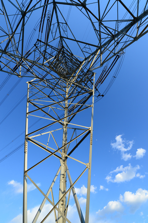 High voltage tower, in the sky background  Banco de Imagens