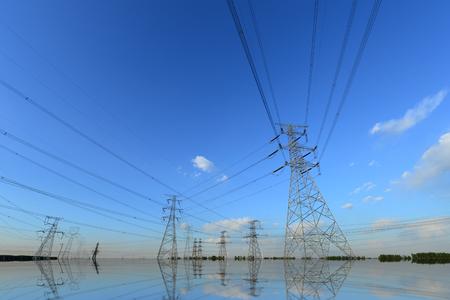High voltage tower in the sky background Reklamní fotografie