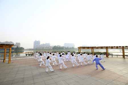 Tai chi is performed in the park by the river