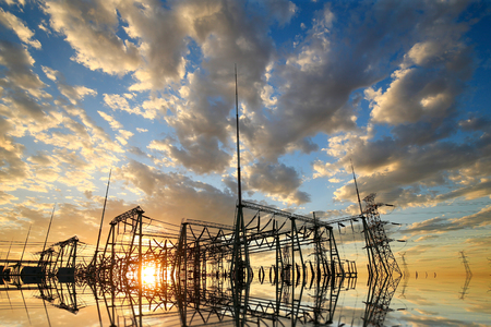 Substation in the evening, the silhouette of the power supply facilities Stok Fotoğraf