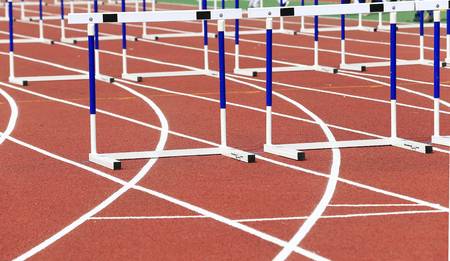 Hurdle rack in the track and field 免版税图像