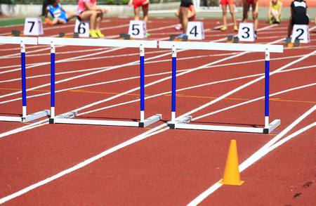 Hurdle rack, in the track and field 免版税图像