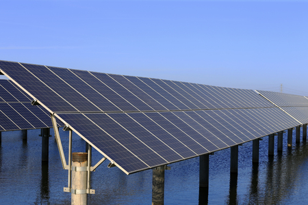 Solar photovoltaic panels and solar photovoltaic power generation systems Stock Photo