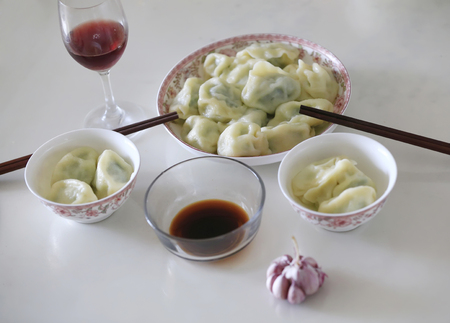 A plate of dumplings is on the table Archivio Fotografico