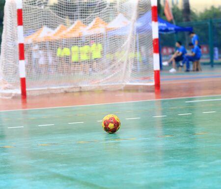 A handball on the playing field Stockfoto - 131295565