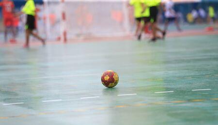 A handball on the playing field Stockfoto - 131283724