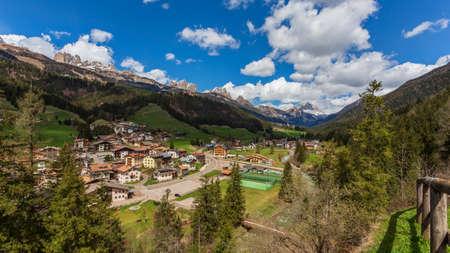 Soraga city landscape, Val di Fassa, Italy
