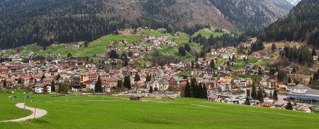 Moena city landscape from surrounding fields, Trentino Alto Adige, Italy Editorial