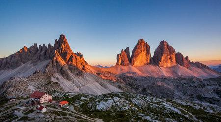 Sunset landscape of Locatelli shelter, Tre cime di Lavaredo, Italy