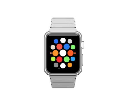 Een horloge vooraanzicht over witte achtergrond. Stock Illustratie