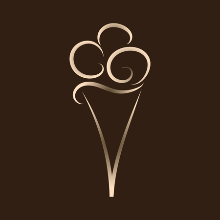 Ice cream icon on a brown background. Suitable for use in the menu of cafe and restaurant