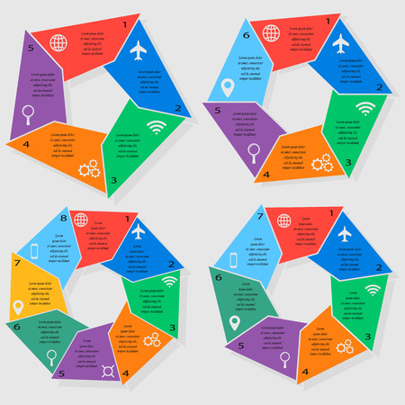 6 7: Set of infographic templates for business with 5, 6, 7 and 8 options or steps. illustration can be used for diagram, graph, presentation and chart