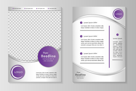 flyer layout: template design with front page and back page. Business brochure or cover