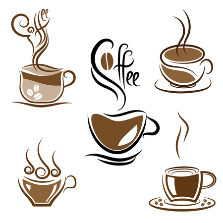 coffeehouse: Vector set of coffee and tea cups isolated on white background. Eelements for coffeehouse, cafe or restrant design