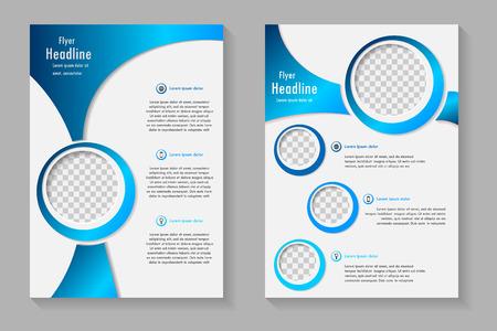 ベクター チラシ テンプレート デザイン フロント ページと裏ページ。ビジネス パンフレットまたはカバー
