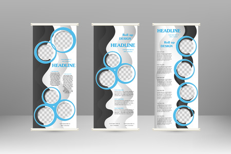 business event: Roll up banner stand design. For  advertisement, poster, brochure, presentation, business template. Vector illustration