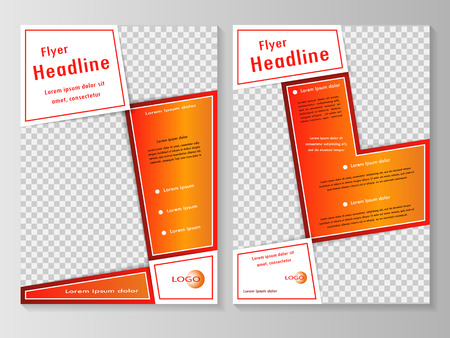 flyer template: Vector flyer template design with front page and back page. Business brochure or cover