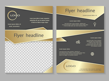 front page: Vector flyer template design with front page and back page. Business brochure or cover